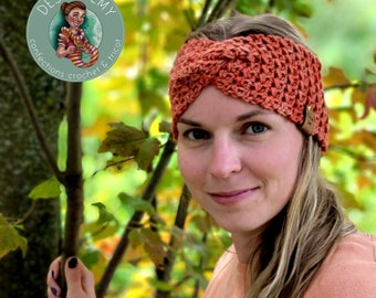 Ready-to-go-Headband River color MABON-Crochet headband-Adult-Wool tinted by hand