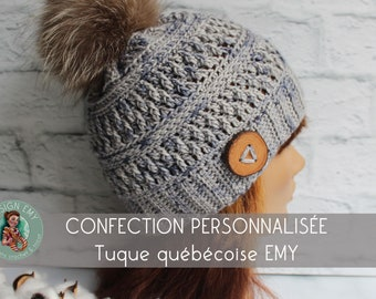 Personalized order, La TUQUE québécoise EMY- In merino and hand shade, Standard Woman crochet