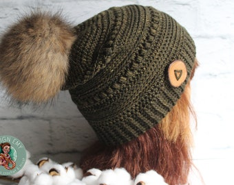 """Ready to go, La TUQUE 100% QUÉBÉCOISE- In merino and shaded by hand, Standard Woman """"Slouchy"""" crochet, khaki"""