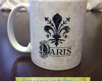 Coffee Tea or Hot Cocoa Mug  Fleur de Lis Paris France Grunge Light Pink Damask