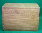 Vintage Oak finger jointed hinged lid recipe box with letter dividers