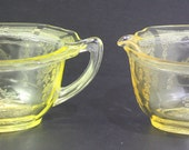Vintage 1930 39 s Topaz Canry yellow Anchor Hocking Princess Open sugar and Creamer set