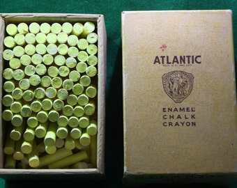 VIntage Box of  Binney & Smith co. Gold Metal Products Atlantic Enamel Chalk Crayon No 308 New York New York