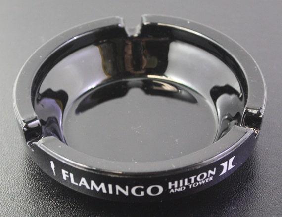 Flamingo Hilton and Tower Ashtray Las Vegas Casino Black Glass Ash Tray