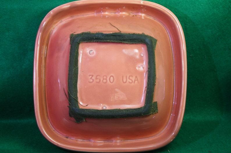 Vintage Coral Pink /& Green Ceramic square Ashtray-Mid-Century USA 3580