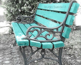 Abstract Park Bench Still Life, Blue Bench Garden Photography, Bench Art, Turquoise Rustic Farmhouse Wall Art,  Waiting In Vain Bench Art