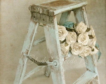 "French Country Photography, Country Kitchen Art, Rustic Old Step Stool Still Life, Romantic Farmhouse Print, Neutral Print-""Forget Me Not"""