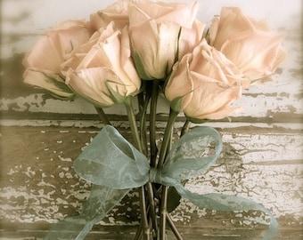 Rustic Romantic Rose Art Print, Shabby Cottage Chic Art, French Country Garden Flower Print, Botanical Peach Rose Art, Farmhouse Wall Art