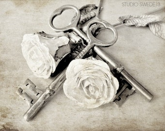 Romantic Rose Art Print, Wedding Gift Wall Art, French Country Farmhouse Wall Decor, White Roses and Skeleton Key Neutral Beige Photo