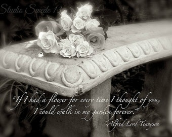 """If I Had A Flower, Typography Print, Love Quote, Romantic Black and White Photography, Garden Rose Photo, Old Bench Photo- """"Forever Garden"""""""