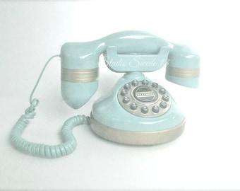 "Old Phone Photo, Retro Girls Room, Cottage Chic Art, Aqua Print, Vintage Telephone Still Life, Blue Office Decor, Nostalgic Decor- ""Call Me"""