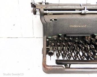 Vintage Typewriter Print, Office Art, Black and White Underwood Typewriter Photo, Office Wall Decor, Antique Art Print, Farmhouse Wall Art