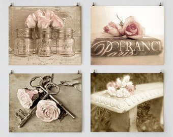 Rose Photography, Shabby Chic Photo Set, Blush Rose French Cottage Wall Decor, Farmhouse Wall Art Gallery, Romantic Roses, Pink Rose Photo