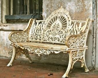 "Bench Photo, Rustic Decor, Old Garden Bench Print, Savannah Urban Street Art, Beige Cottage Still Life Wall Decor- ""Waiting on a Friend"""