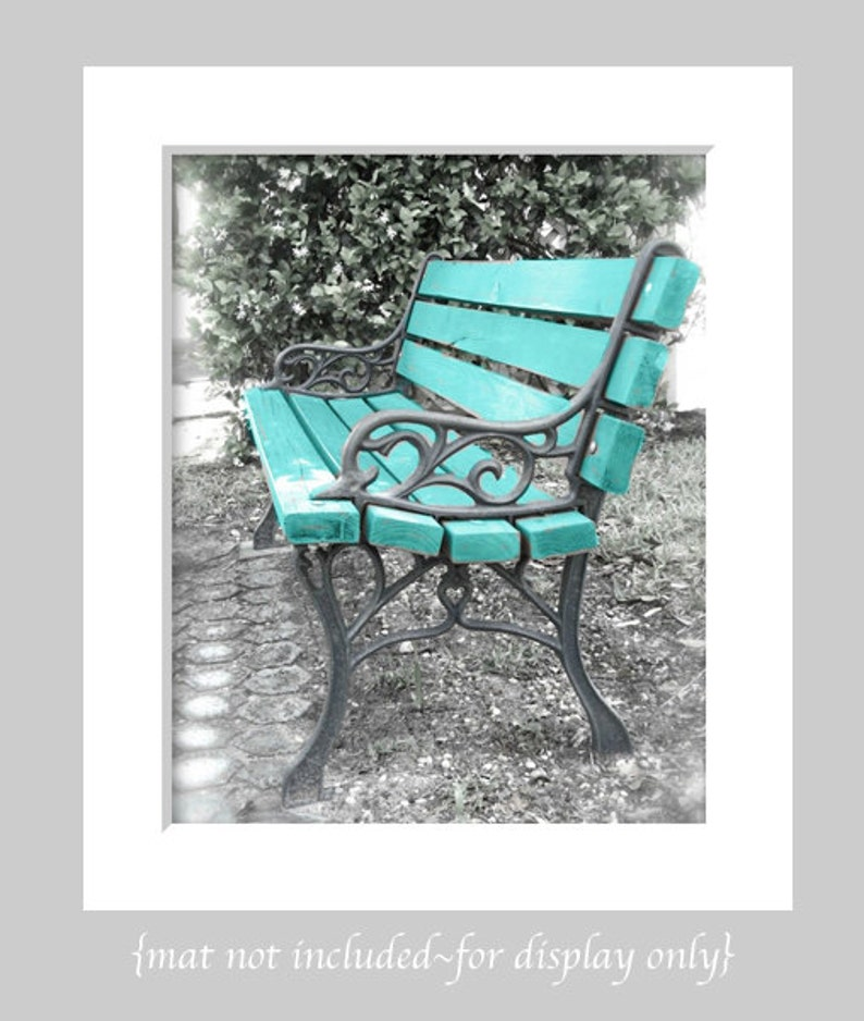 Turquoise Rustic Farmhouse Wall Art Waiting In Vain Bench Art Abstract Park Bench Still Life Blue Bench Garden Photography Bench Art
