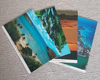 Vintage postcards from Hawaii // Hanauma Beach, Iolani Palace, Sunset, Honolulu aerial shot, ephemera, travel, Hawaiian postcards, souvenirs