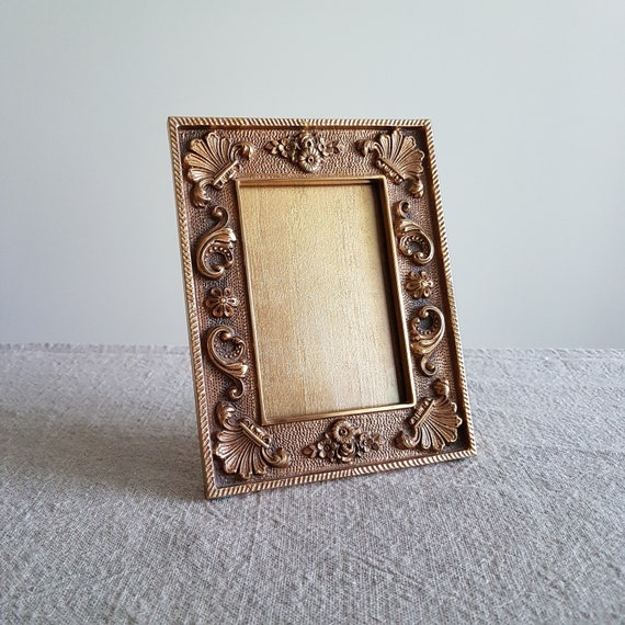 4 X 5 Ornate Cast Iron Picture Frame W Gilt