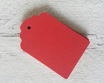 Red Gift Tags-25-50-100-Hang Tags-Price Tags-Blank-Favour Tags