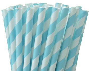 25 Baby Blue Stripe Paper Straws-7.75 Inches-Party Straws-Baby Boy Shower-Wedding-Party-Biodegradable