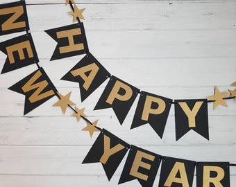 Happy New Year Banner-Black and Gold-Stars-2019