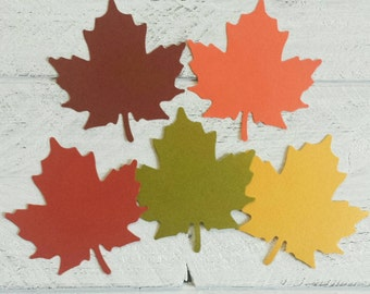 25 Large Fall Maple Leaves-Die Cuts-Thanksgiving Place Cards-Thanksgiving Gift Tags-Hang Tags-Scrapbooking-Gift Wrapping-Cards-Punches