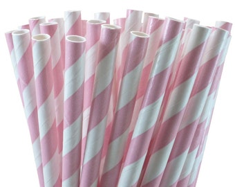 25 Light Pink Stripe Paper Straws-7.75 Inches-Party Straws-Baby Girl Shower-Wedding-Party-Biodegradable