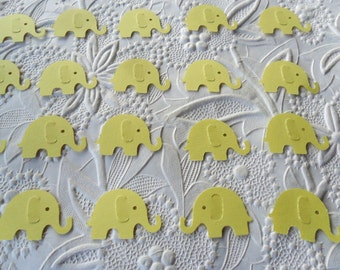 50 Light Yellow Elephant Confetti-1 Inch-Scrapbooking-Gift Wrapping-Embellishments-Baby Girl Shower-Baby Boy Shower-Birthday Party-Punches
