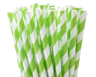 25 Lime Green Stripe Paper Straws-7.75 Inches-Party Straws-Shower-Wedding-Party-Biodegradable