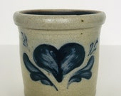 Vintage Rowe pottery glazed crock heart stencil design container