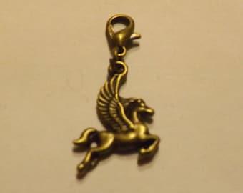Charm's hook bronze Pegasus (winged horse) charm