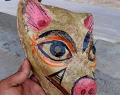 Vintage paper mathe mask old dog carved mask hand painted white mask light weight halloween mask indian home decor Wall decor