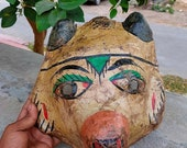 Old fox carved paper mathe mask old hand painted fox head shape mask light weight halloween mask indian home decor Wall decor collectible