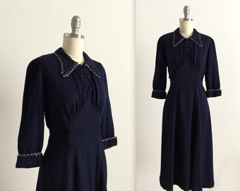 1940s navy collared dress
