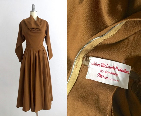 1950s Claire McCardell rust wool dress