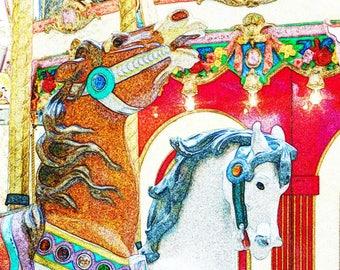 Merry Go Round Horse Decor, Bright Wall Art for Children's Room, Nursery Art, Carousel Horse Photo, Whimsical Art, Merry Go Round Pony Print