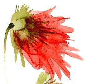 Red-orange Flower Art Print from my Original Alcohol Ink Painting, Flowing Botanical Wall Art, Coral Floral Painting, Impressionistic Print