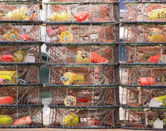 Stacked Crab Pots Print ~ Coastal Photography ~ Pacific Northwest Wall Art ~ Neon Orange Yellow Buoys ~ Fishing Gift for Him