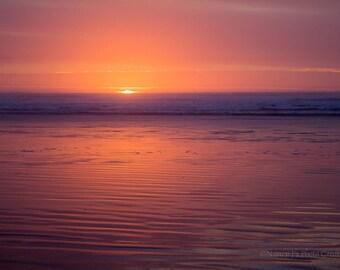 Serene Wall Art, Oregon Coast Sunset Photo, Casual Beach House Decor, Minimalist Print, Zen Gift, Glowing Tangerine Sun in Cloudy Indigo Sky