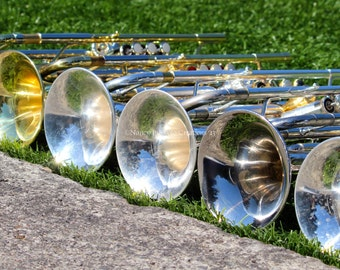 Trumpets - Horn Line, Brass Instrument Photography, Football Marching Band, Pep Band, High School Memories Gift for Him, Wall Art fPOE