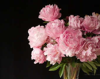 Pink Peonies Flower Photography - Floral Still Life, Gift for Her, Peony Wall Decor, Pink Bouquet, Botanical Print, Boudoir Decor, Wall Art