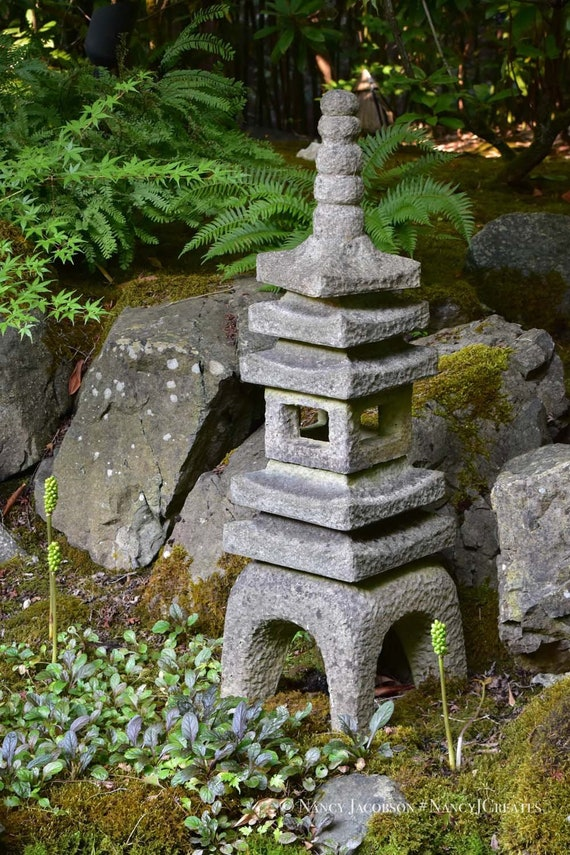 Japanese Garden Pagoda Statue Photo, Buddhist Stone Lantern Picture,  Peaceful Zen Photography, Asian Art Print Green Grey Art For Relaxation
