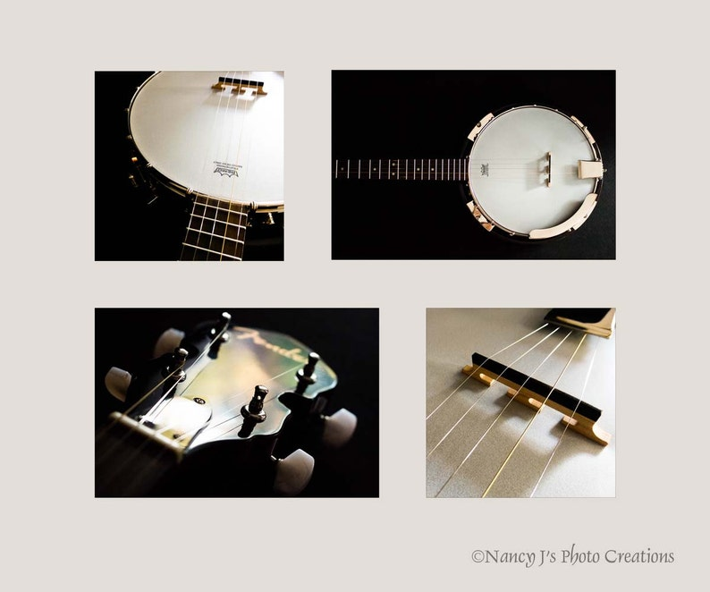 Fender Banjo Photos Print Set ~ Bluegrass Folk Music Decor ~ White Gold  Black Wall Art ~ Gift for Musician ~ Musical Instrument Photography