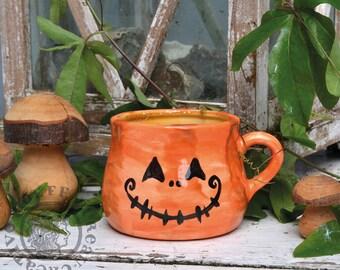Jack Mug Two Faced Pumpkin - Handmade and painted Pottery mug - halloween pumpkins spooky scary cute orange