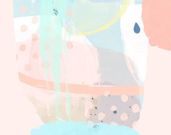 Modern Minimalist Art - Abstract Art, Modern Minimalist Art, Abstract 95 - In Tune, Pastels, Yellow, Pastel Green, Pastel Pink, Pastel Blue