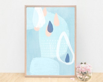 A3 Large Soft Blue and Raindrops Painting, No 62, Art Print, Baby Blue Abstract Print, Abstract Blue Art for Boys Room, Open Edition.