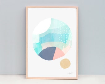 Contemporary Art Print, Circle Art, Modern Abstract Painting, Watercolor Wall Art, Watercolor Art Print, Art Print - Abstract 102