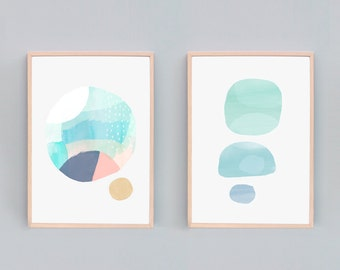 Set of 2, Contemporary Art Prints, Modern Abstract Painting, Art Print Sets, Light Modern Abstract Art, Calm Art, Art Sets, Art Combo