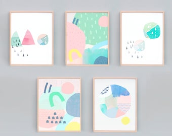 Set of 5 small Art Prints, Abstract Painting, Abstract Set, Contemporary Prints, Minimalist, Beach House Art, Watercolor Prints, Peach