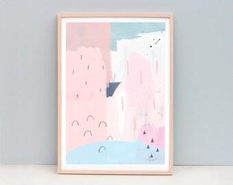 Contemporary Art Print, Modern Abstract Painting, Pink Abstract Art, Pink and Blue Art, Abstract Painting, Pastel Colour Art, Pink Art