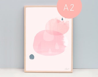 """A2 Large Contemporary Artwork, Raindrops Pink, A2 (16.5 x 23.4 """"), 40 x 50 cm or 16 x 20"""""""